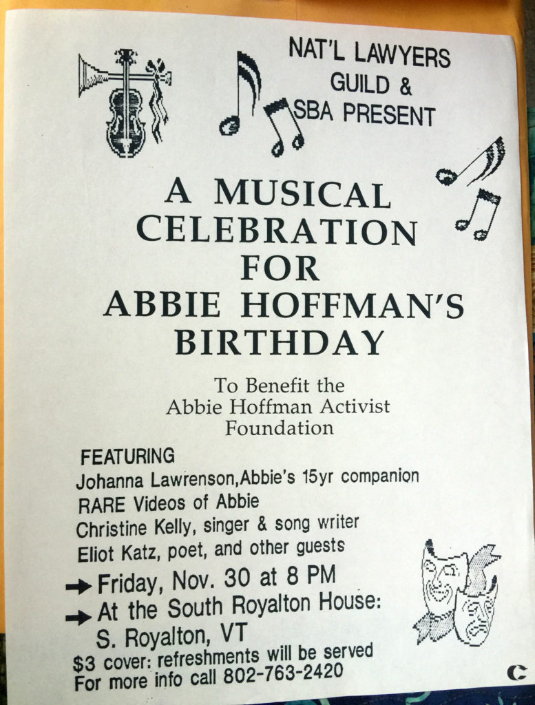 A Musical Celebration for Abbie Hoffman's Birthday