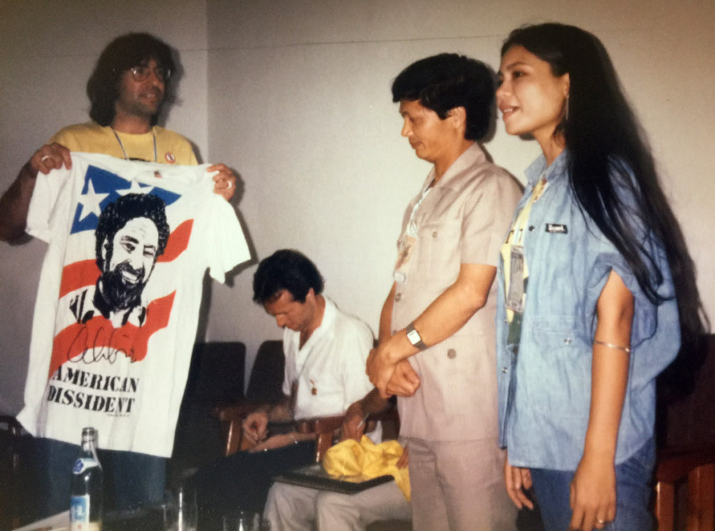 Eliot Katz and an Abbie Hoffman t-shirt in North Korea