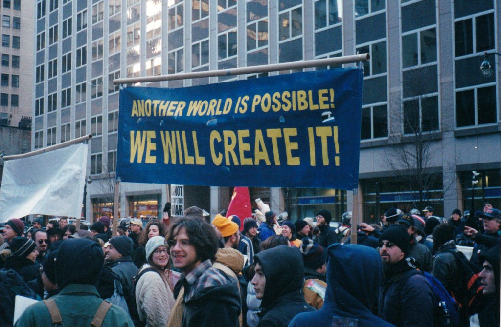 """Another World Is Possible,"" Global Justice movement rally. Photo by Eliot Katz"