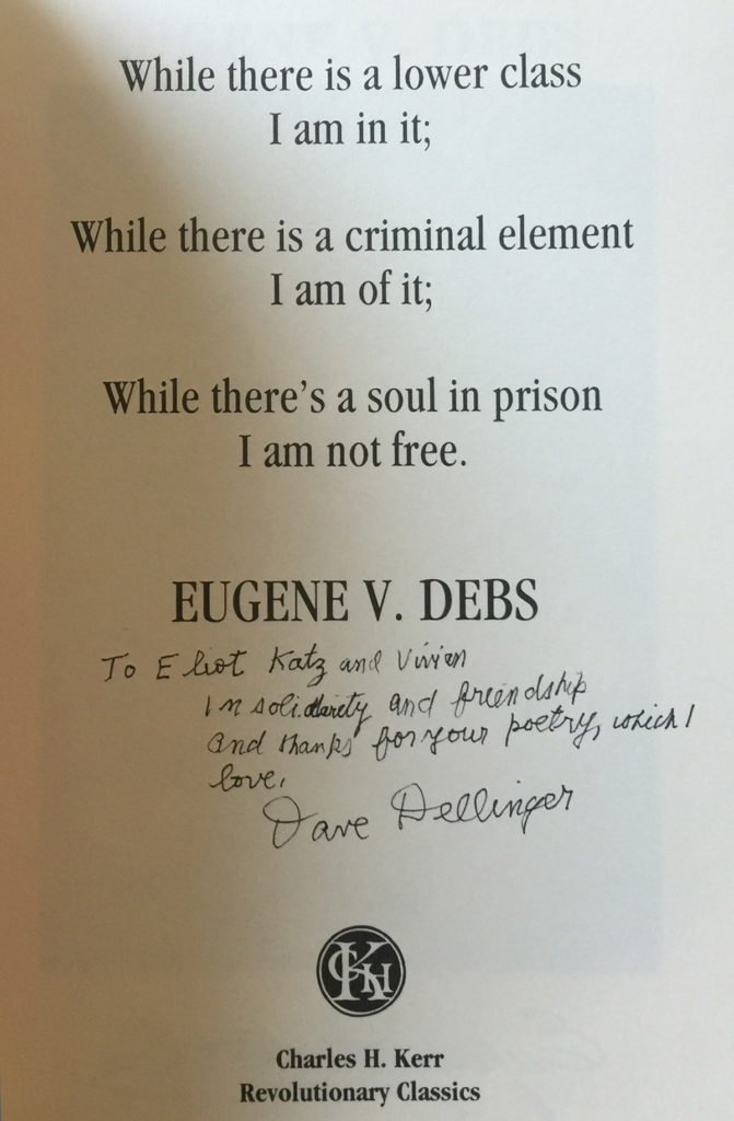 Inscription by activist Dave Dillinger to Eliot Katz in a book by Eugene V. Debs