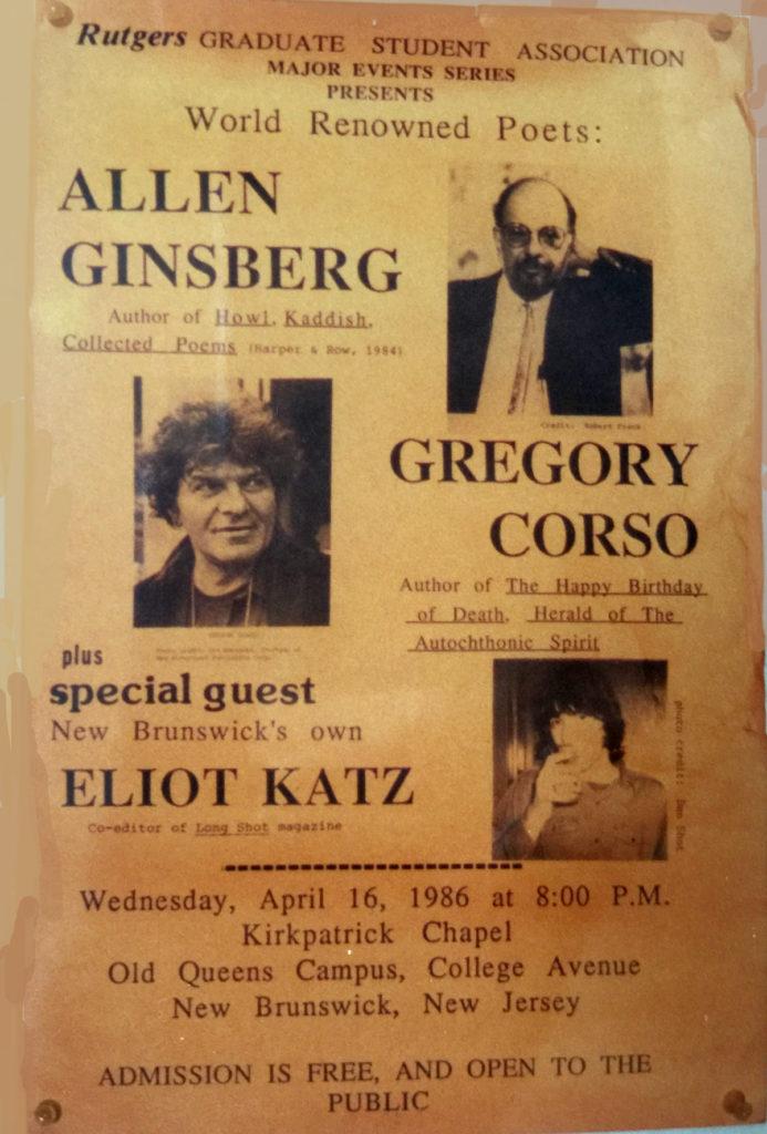 Eliot Katz, Gregory Corso, Allen Ginsberg poster