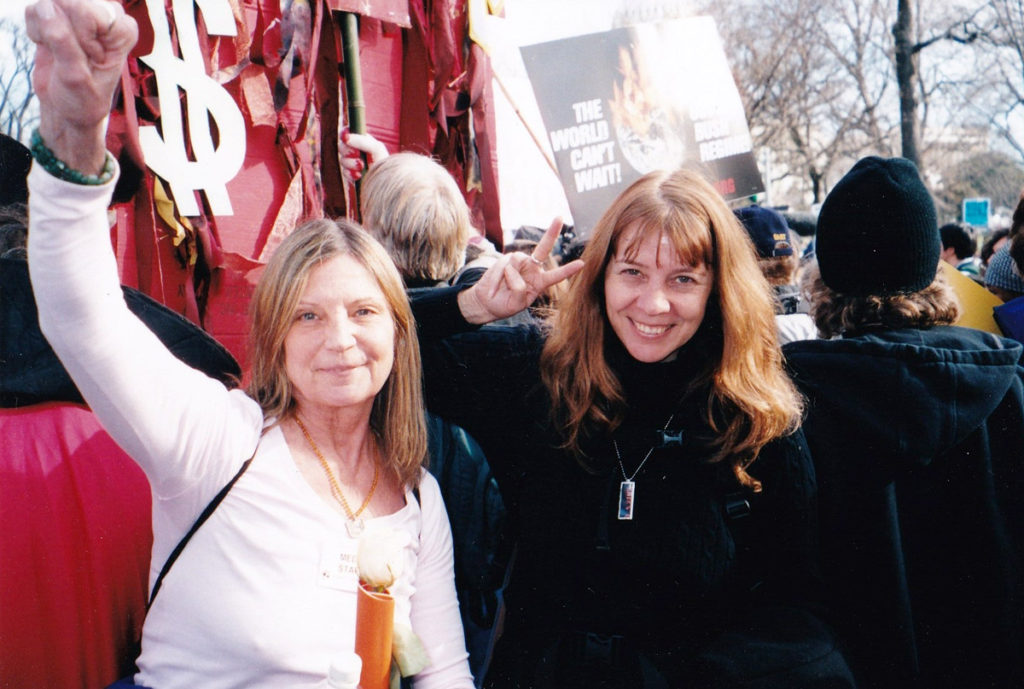 Johanna Lawrenson and Vivian Demuth. Antiwar rally, 2007. Photo by Eliot Katz