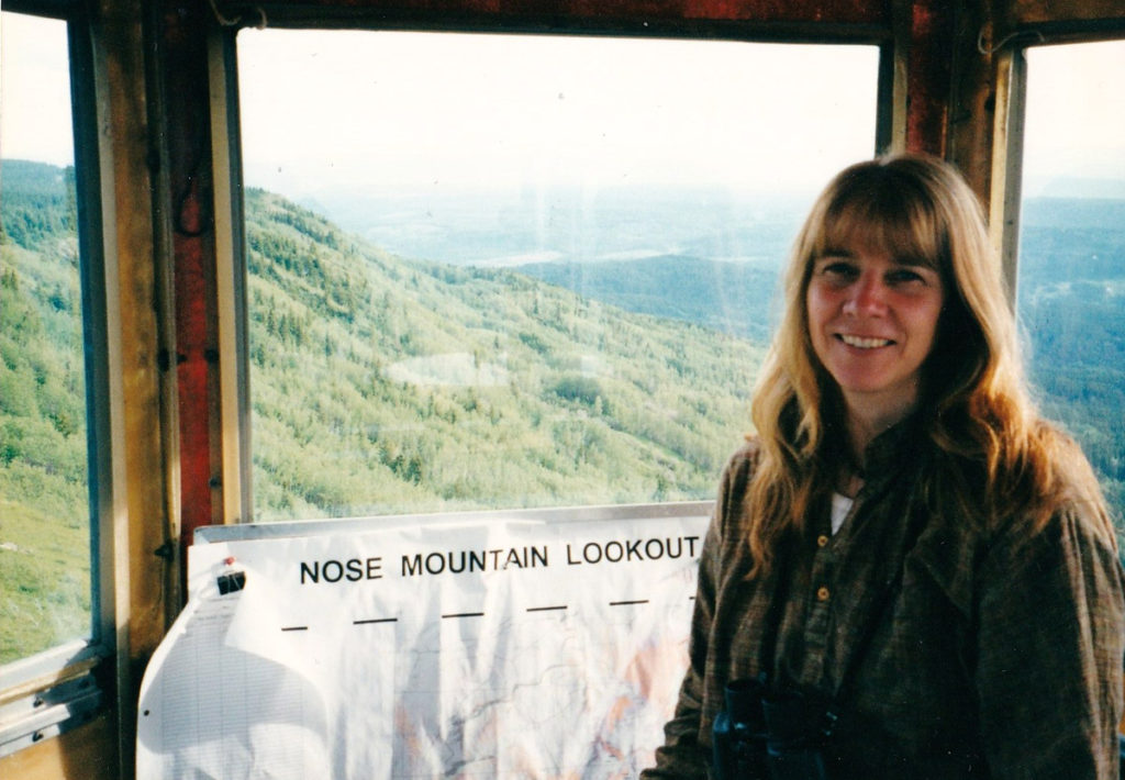 Vivian Demuth in Nose Mountain firelookout. Photo by Eliot Katz