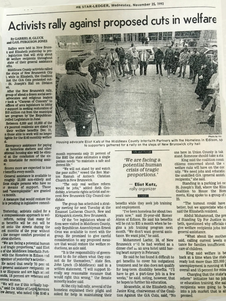 Newark Star-Ledger article about welfare cut protest.
